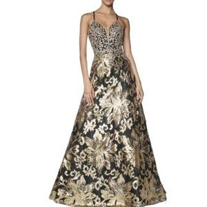 A-Line Sequin Ballgown Black/Gold